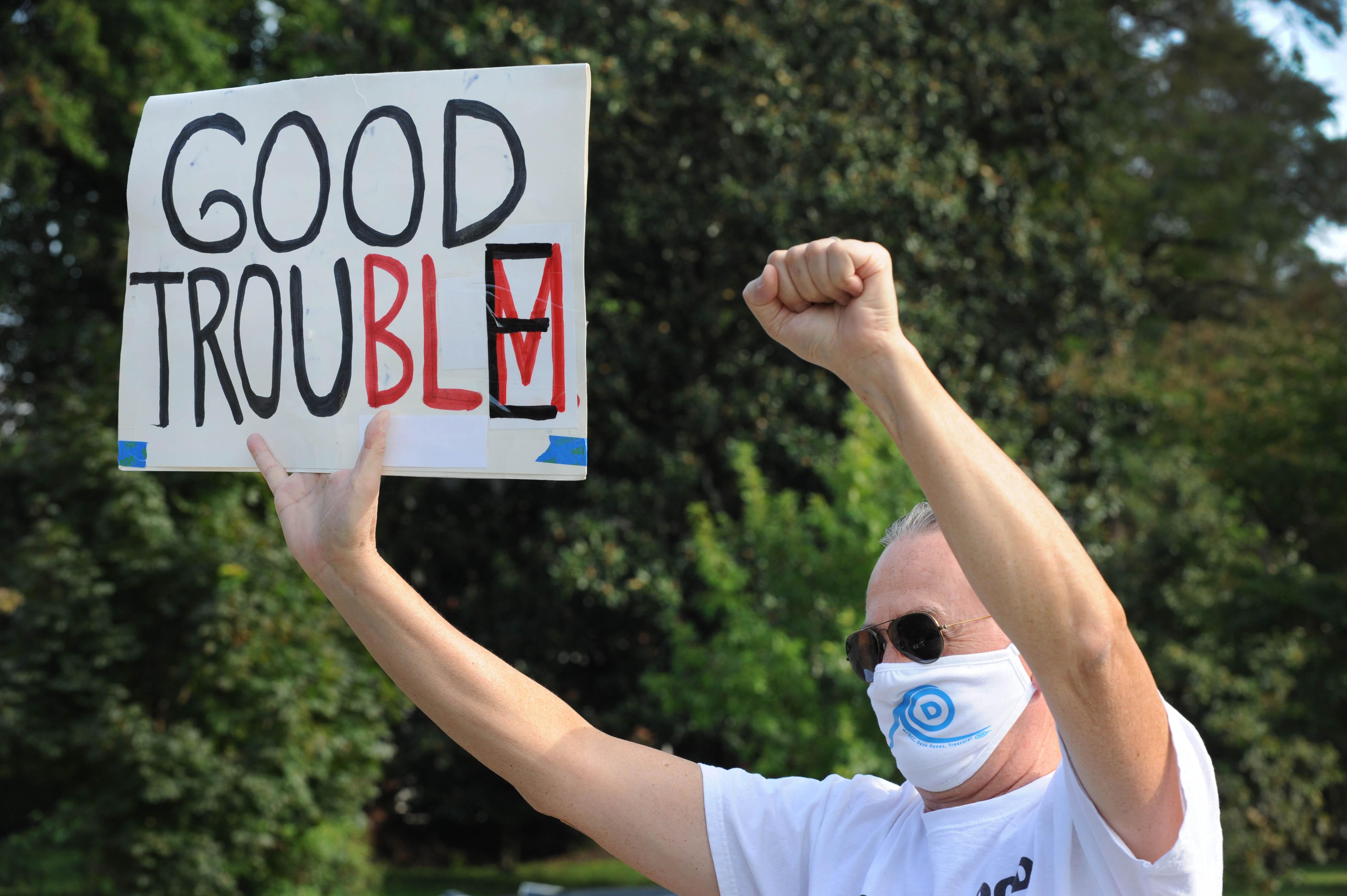 "Quarantine Diary 38Anti-racism vigil and the shofar blast on the eve of Rosh Hashanah. With members of the Fabrangen Havurah, plus Ken Roseman as ""Cheerleader.""7750 16h St. NWWashington DC 20012"