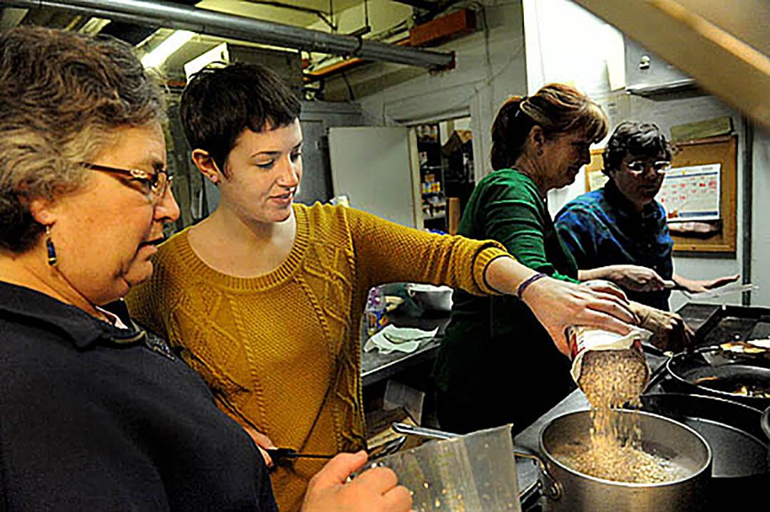 DCJCC Washington DC Jewish Community Center 25th annual D25 volunteer dayFather McKenna Center 19 Eye St NW Washington DC 20001202-842-1112 L to R- Fran Goldman, Sara La Rue, Annie Hill, and Ellen Garschick