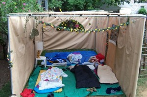 Teens sleeping in Fabrangen Sukkah